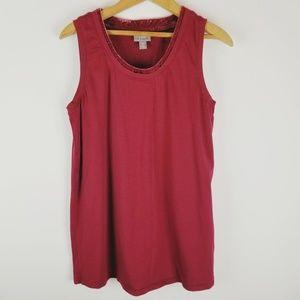 J Jill velvet trim red tank top sleeveless xs
